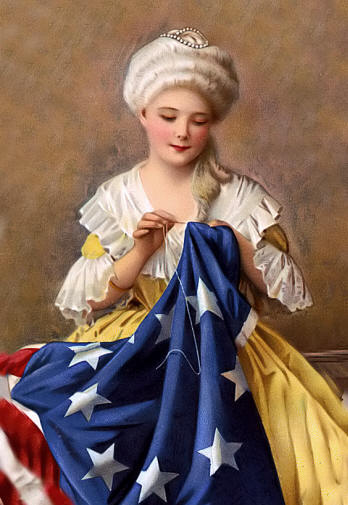 Betsy Ross with wig sewing Stars and Stripes