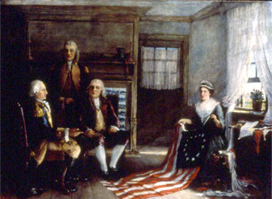 Birth of Our Nation's Flag by Charles Weisberger via Betsy Ross House